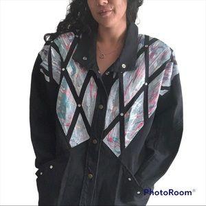 Vintage 80s 90s Dolman Denim Jacket Pastel Jeweled